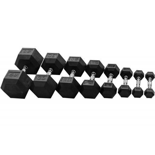 Hex Dumbbell - 2.5-30kg + Rack